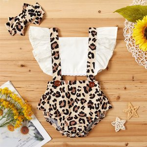 2021 Baby Summer Clothing Newborn Infant Baby Girl Clothes Leopard Jumpsuit Bodysuit Headband 2Pcs Outfits 1044 X2