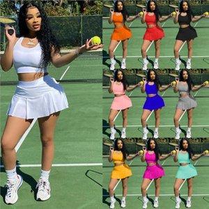 Toptan Yaz Kadın Eğlence Eşofman Seksi Saf Renk Ince Spor Yelek Culottes İki Setleri Kıyafetler Koşu Sportsuit Tank Üst Etek Sweath
