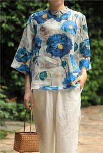 Button Button Button Style Blue Lotus Imprimir Pure Ramie Blusa, verano delgado Tres cuartos de manga Dama suelta Top camisas Blusas de las mujeres