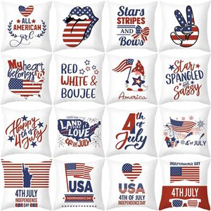 45*45cm happy 4th july pillow case 2021 US independence day pillow cushion covers American national day USA flag sofa car bar cover household products G55Q1R6