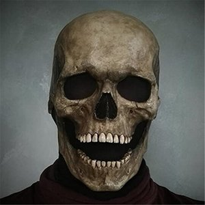 Skull Mask Bone Chest Piece Halloween Costume Horror Evil Latex Rubber Full Head Helmet with Movable Jaw Scary Gothic
