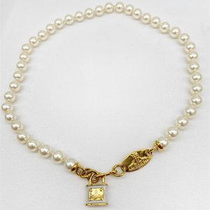 West * rear vivi w new Saturn constellation cosmos champagne Shijia pearl copper lock clavicle chain necklace accessories