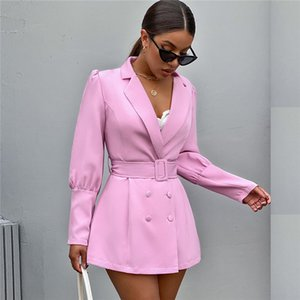 Slim Womens Designer Blazers Solid Color Sexy V Neck Suits With Sash Autumn Fashion Long Sleeve Women Blazers Coats
