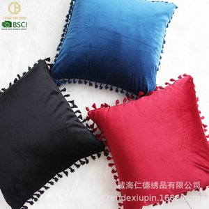 Veet Dutch Solid Color Tassel Lace Pillow Cover Nordic Style Sofa Cushion