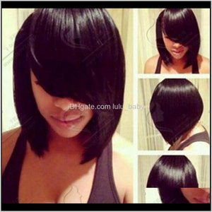 Front Human Short Bob Brazilian Straight For Black Women Natural Color Dollface Nxoc7 Synthetic Jshjx