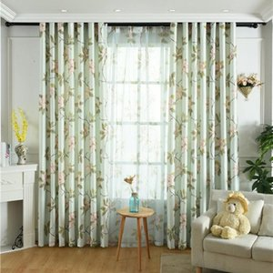 Curtain & Drapes American Flower Pastoral High-end Single-sided Velvet Printing Fresh And High Shaing Curtains For Living Room Bedroom