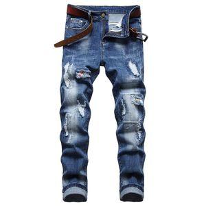 Men's Jeans Europe America Elastic Fashion Ripped Patch Blue Trousers Classical Nostalgic Retro Streetwear Denim Pants