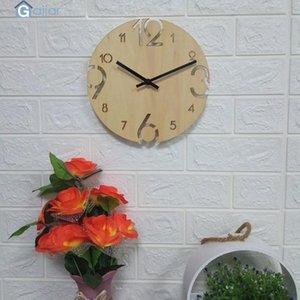Wall Clocks 2021 Creative Home Decor Wood Silent Watch Clock European Modern Design Drop Feb21