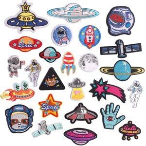 Fabric Alien astronaut flying saucer Daisy badge sunflower embroidery cloth paste Custom iron on Patches Embroidered Stickers for Jacket Jeans DIY Applique