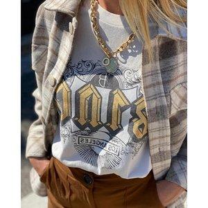 Women's T-Shirt - Bohemian Rowling Lettered T-shirt, Short Sleeve Crew Neck Cotton 2021 Vintage Informal