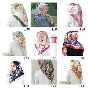 Turban 90*90cm satin printed big square scarf fashion simulation silk scarfs activity gift 40 styles OWF10201