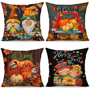 Pillow Case Fall Decor Covers 18X18 Inch Set Of 4 Thanksgiving Outdoor Pillows Decorative Throw For Home Couch