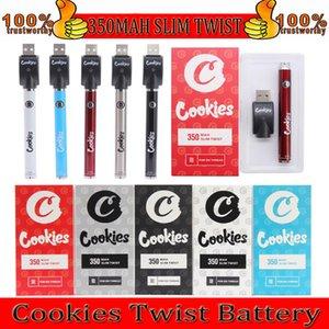 Cookies Slim Twist Battery SF 350mAh Bottom 3.3-4.8V Preheat VV Cartridge Vape Blister Batteries Pen for 510 Thread Carts