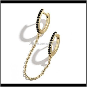 Charm Jewelry Drop Delivery 2021 Minimalism White Black Colorful Rhinestone Filled Copper Circle Chain Mini Earrings For Women Rainbow Hoop E