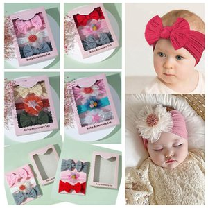 3Pcs Sets Girls Hair Accessories Flower Baby Headbands Children Kids Hairband Soft Bows Headdress Box Accessory B7889