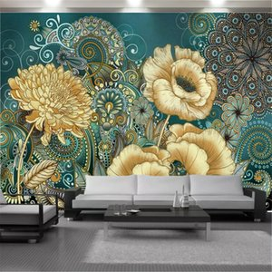 Custom 3d Flower Wallpaper European Exquisite Floral Home Decor Living Room Bedroom Painting Mural Wallpapers Wallcovering