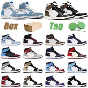 1 Barato Travis Scott 1 Air Jordan 1s mujeres de los hombres del dedo del pie zapatos de baloncesto de obsidiana UNC Negro Turbo verde hombre formadores deporte 36-47