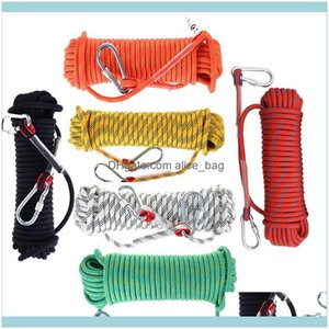 Gadgets And Camping Sports & Outdoors10 12Mmx50M Rope With 2 Hook Outdoor Rock Climbing Hiking Equipment Emergency Lifeline Paracord Rescue