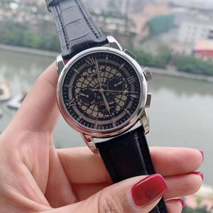 Hombres clásicos Reloj Mecánico Automático Silver Rose Oro Cuero Black MoonPhase Limited Roma Dial Zapphire Glass Back Wrthwatches