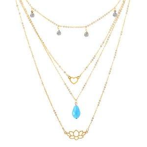 Dichiarazione della moda Pendenti del fiore del loto collane dei ciondoli del cuore multistrato della collana dei giocori multistrato per le donne gioielli Coller fleur