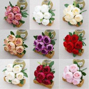 1 Bouquet 7 cabezas Artificial Peony Tea Rose Flowers Camelia Silk Floy Flower Flores para DIY Home Garden Boda Decoración