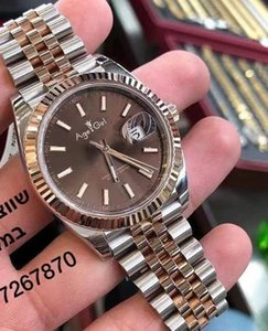 Classic Men Datejust Stainless Steel Automatic Mechanical Self Wind Sapphire 18k Rose Gold Coffee Sport Watches 36mm Wristwatches