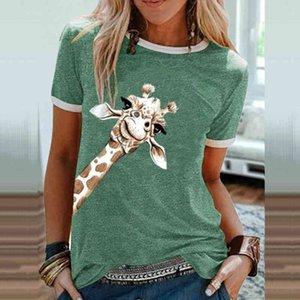 Women Giraffe Graphic T-shirts Plus casual Size fun O neck Short Mouw Y2k Tees Top Beautiful Tshirts Lady Clothing Fall winter