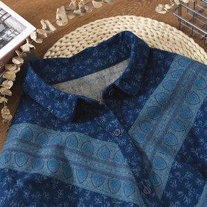 Женские блузки Рубашки лампипа Уникальные чернила живопись Индийский стиль Peacock Blue Vintage с длинным рукавом Peter Pan Gology рубашка блузка 2