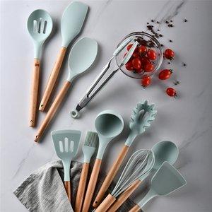 12 PZ / Set Utensili da cucina in silicone Maniglie in legno Pinze non tossiche Spatola Cucchiaio Cucchiaio da cucina Gadget Nonstitivi Pentole EEB5989