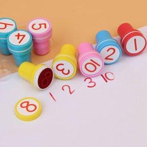 Children's cartoon stamp, creative digital design rubber stamp set, self printing, gift toys, 10 units   batch