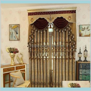 Curtain & Drapes Home Deco El Supplies Garden Brown Thickened Luxurious Curtains For Bedroom Shading Chenille Living Room Embroidered