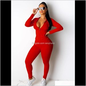 Tracksuits Womens Apparel Drop Delivery 2021 Two Set Tracksuit Women Festival Clothing Fall Winter Top+Pant Sweat Suits Neon 2 Piece Outfits