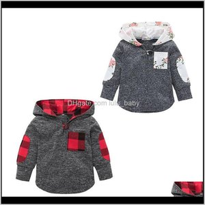 Sweatshirts Baby Floral Lattice Hoodies Sweatshirt Children Boys Girls Plaid Tops Spring Autumn T Shirts Fashion Kids Clothing C524 G1 E0Nps