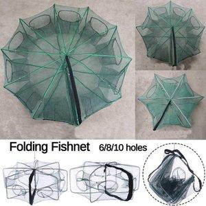 6-10 fori rafforzati pieghevoli per pesca automatica netta da pesca gabbia di nylon pesca trappola cast folding network accessori