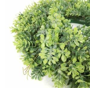 Corona di foglie verdi artificiali - 17.5 pollici Porta anteriore Ghirlanda Shell Erba Grass Boxood per la finestra della finestra Decorazioni per feste 533 V2