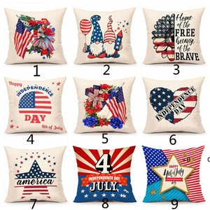 American Independence Day Pillow Case Sofa Cushion Covers Home Decor Seat Pillowcase America Flag Throw Pillows Cover 45*45cm EWE6353