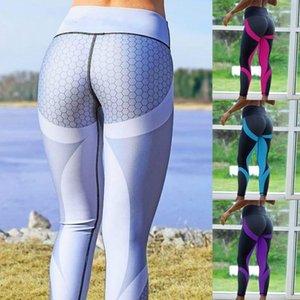 2021 Venta de medias de fitness de 5 colores Alto cintura transpirable y lavable Muchachas usando la impresión de malla Fitness Pantalones de yoga Estirado Aerobics Pantalón