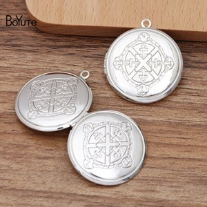 BoYuTe (10 Pieces Lot) 32*6MM Round Shape Metal Brass Silver Plated Floating Photo Locket Pendant Can Open