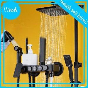 Bathroom Luxury Pure Black Shower Set With Bidet Shelf Faucet Bathtub Sets