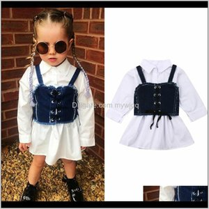 Girls Dresses Clothing Baby, & Maternity Drop Delivery 2021 1-6Years Fashion Toddler Kids Baby Girl Long Sleeve Shirt Dress Sling Denim Vest