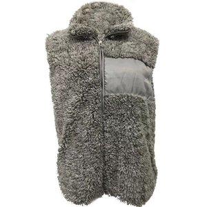 Women Sherpa Vest with liner zipper vest new design non-sleeve hot style soft sherpa pullover solid color pocket soft zipper sherpa Vest