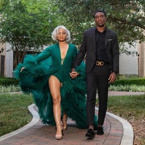 Hunter Green Maternity Prom Dresses For photo shoot Robes Women Sheer Full Sleeves Maxi Tiered Tulle Robe Formal Evening Gown Overlay