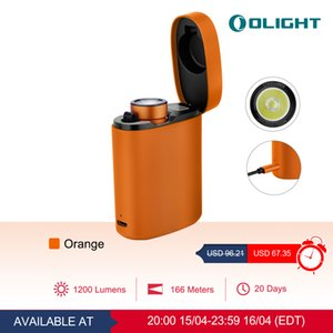 Olight rechargeable compact and powerful portable flashlight Baton3 Premium Edition Orange 1200 lumens red with customized wireless charger