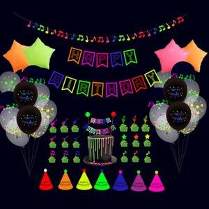 56pcs set Happy Birthday Balloons Fluorescent Party Decorations Letters Fashion Birthday Flag Cake Insert Balloon Set Latex Star Aluminum Balloons G52YUTR