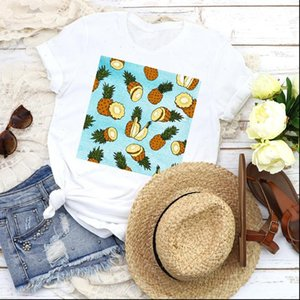 Women T Shirt Graphic Cartoon Pineapple Fruit Sweet Beach Holiday 90s Girl Lady Clothing Female Tees Print Tops Womens