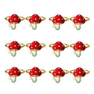 Mushroom Napkin Rings Set Of 12, Red Ring Holders Holiday Table Decor For Wedding,Party, Dining Decoration