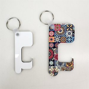 Keychain Free Chain Non-contact Handle Sublimation Wooden Germ DIY Blank Key Rings Safety Touchless Door Opener CCB2259