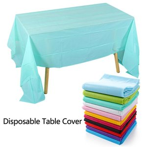 Disposable Table Covers 1PC Solid Color Plastic Cover Rectangle Desk Cloth Catering Wedding Party Banquet Home Decoration