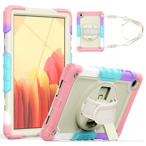 Colorful Rugged Silicone Case with Screen Protector Shoulder Strap for Samsung Galaxy Tab A7 10.4 Shockproof Cover T500 T505