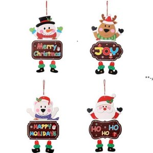 NEWChristmas Ornaments Paper Board Door Window Hanging Pendant Welcome Merry Christmas Boards Xmas Decortaions Santa Claus Snowman RRE9492